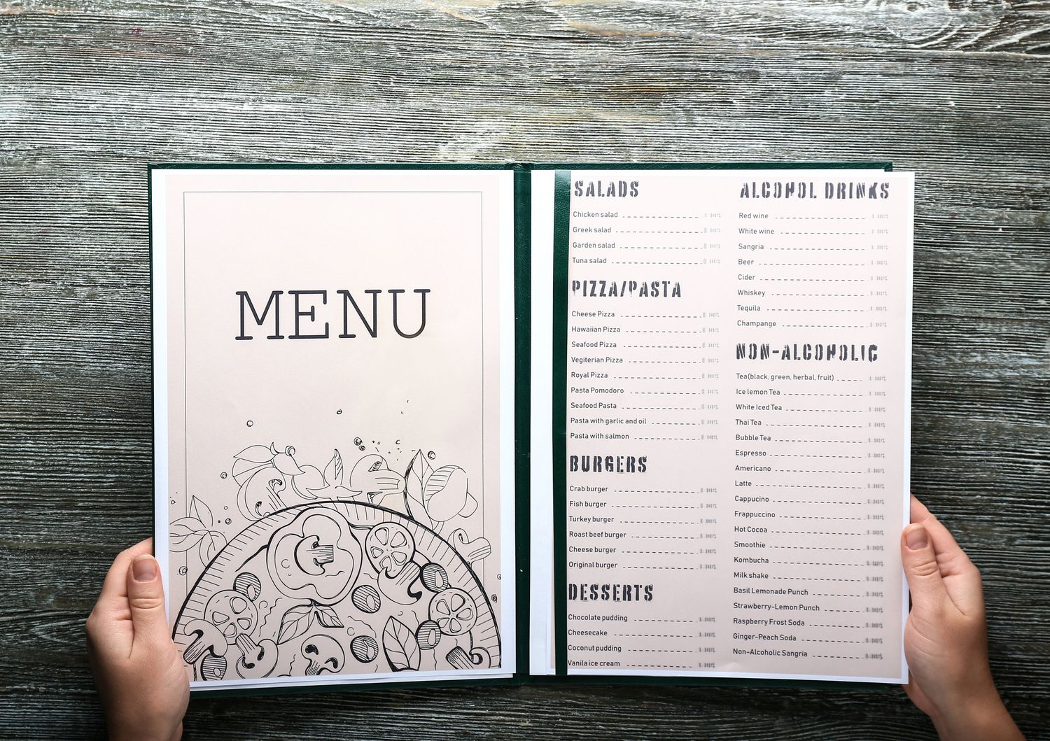 Female hands with menu on wooden table